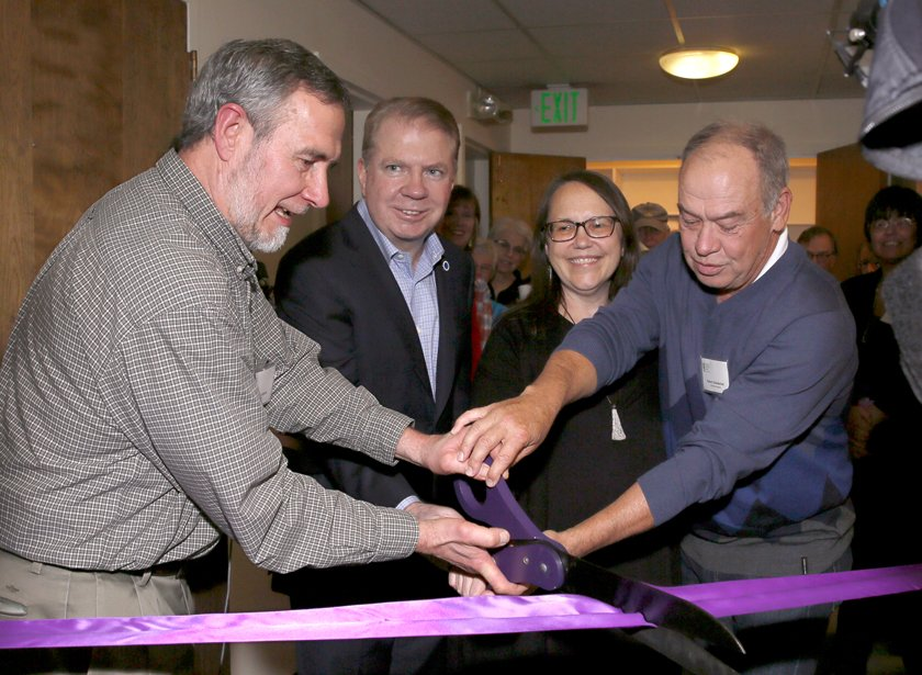 Ribbon Cutting Ceremony Celebrating Day Center Remodel Pastor Ron Moe-Mobedo, Mayor Ed Murray, Ruth Herold and Bob Chamberlain